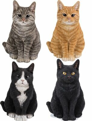 Cat Sitting - Lifelike Garden Ornament - Indoor Outdoor Real Life 4 Colours NEW