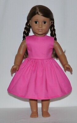 """Solid Pink Dress For 18"""" American Girl Doll Clothes"""