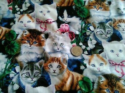 Cats, Cats + more Cats all over 100% Cotton Fabric Scrap Quilt Sew Craft Deco