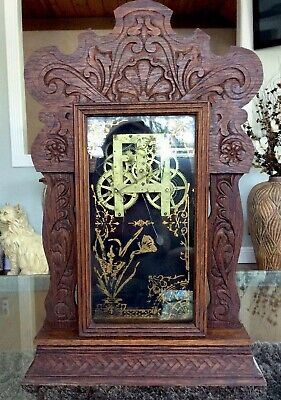 "Antique Ornate Carved Oak Gingerbread Clock Cabinet Case Glass Door 22"" Parts"