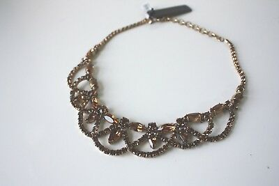 NWT Jcrew Bronze Brass Glass Antique Lace Stone Crystal Necklace