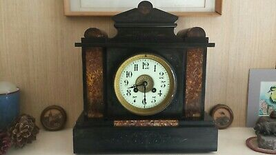 Antique French Black Slate & Marble Detail Striking Coiled Gong Mantel Clock