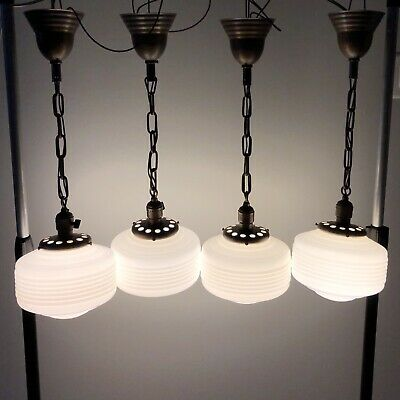 Four (4) Brass Antique Pendant Light Fixtures Milk White Art Deco Shades 80A