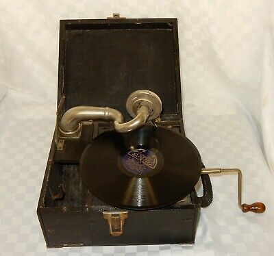 Vintage Tyrela Mini Portable Wind Up Record Player Gramophone