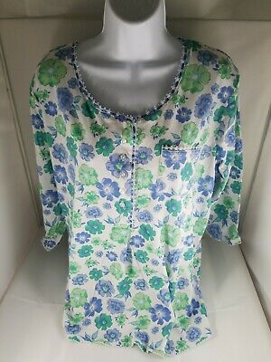794fa269f367 New! Womens KIM ROGERS INTIMATES Blue Green White Top Cotton Blend 3/4  Sleeve