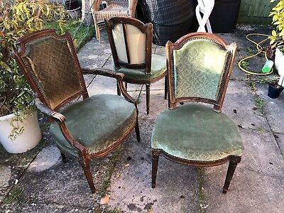 Pair of 18th century Louis XV period fauteuil chairs and matching arm chair