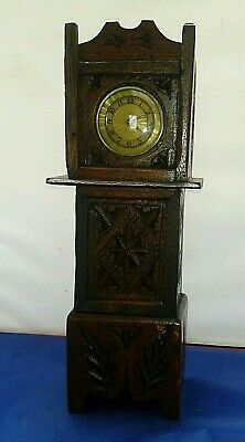 OLD Small Grandfather Clock Carved Wood Case Working Clock 29cm High Miniature