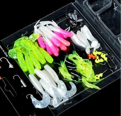 Soft Worm Lures Baits with Lead Jig Head Hooks Reusable Tackle New Jian