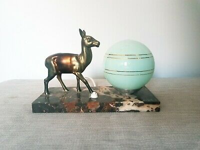 Stunning Art Deco Lamp with Spelter Deer on a Marble Base