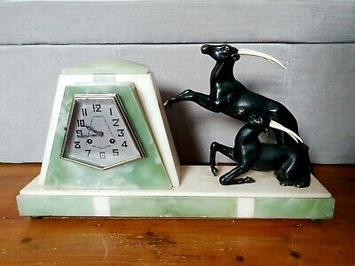 STUNNING 1930s FRENCH ART DECO ONYX MARBLE & BRONZE MANTLE CLOCK URIANO WORKING