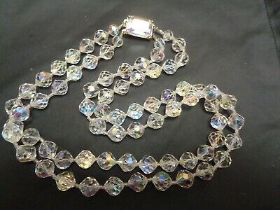 Vintage Multi 2 Strand Aurora Borealis CRYSTAL Beaded Necklace Glass slide clasp
