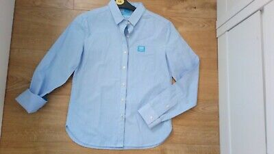 WOMENS SUPERDRY BLUE WHITE SHIRT TOP LONG SLEEVE size Small S