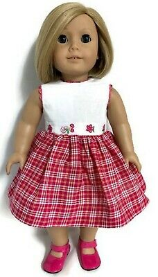 White & Dark Pink Plaid Dress made for 18 inch American Girl Doll Clothes