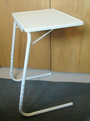 White adjustable over bed table, dinner tray chair table, laptop table fold away