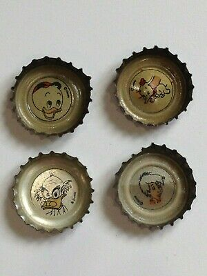 Coca-Cola Bottle Caps Lot Of 4  Dumbo, Arthur, Huey, Ludwig Von Drake  Mexico