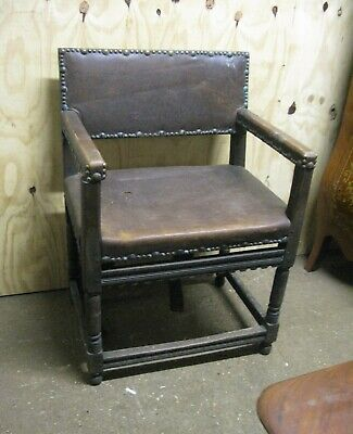 Wainscot 17th Century Style Oak & Rexine Chair C.1920's TLC Restore or Upcycle