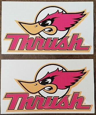 2 Vintage Thrush Mufflers Decal Sticker
