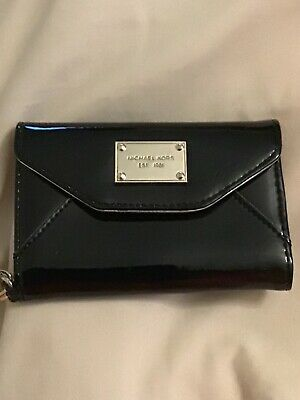 2a096b700897 Michael Kors Patent Black Leather Wristlet Wallet Phone Case for iPhone 4/4S