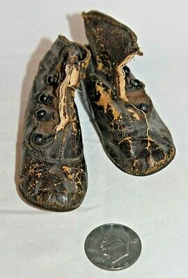 Antique Vintage Victorian Leather (5) Button Up BABY SHOES 19th Century MARKED