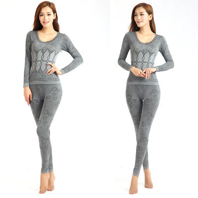 Women Round Neck Thermal Suit Long Winter Tops and Pants Warm Pajama