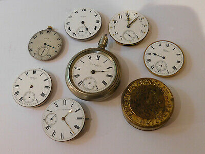 Antique Elgin And Waltham Pocket Watch Movements X7 With One Unusual Example.