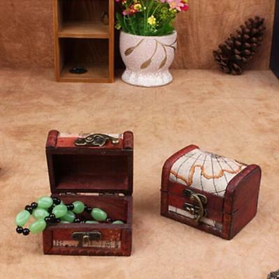 Jewelry Storage Box Trinket Retro Style Container Wooden Lock Necklace Holder D