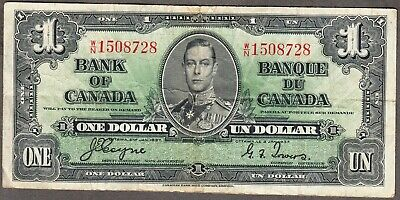 1937 Bank of Canada  - $1.00 Bank Note - Fine - Coyne Towers  W/N 1508728
