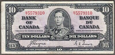 1937 Bank of Canada  - $10.00 Bank Note - Very Fine - Coyne Towers K/T 5579310