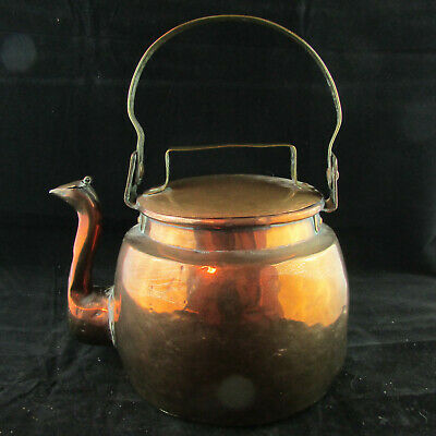 Antique 1800s Handcrafted Large French Copper Tea Kettle Brass Handles Dovetail