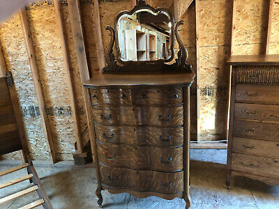 Antique Oak Tall Chest of Drawers With Mirror.   Dresser.