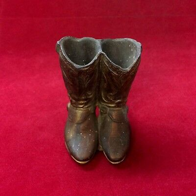 ~Vintage Antique Small Metal Bronzed Cowboy Boots - Small & Heavy (CC1440)