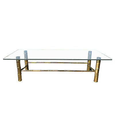 Mid Century Hollywood Regency Brass Bamboo Glass Top Coffee Table by Mirodan