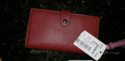 NEW Coach Out Grommet Large Studded Studs Soft Leather Wallet PLUM 53761 $175.00