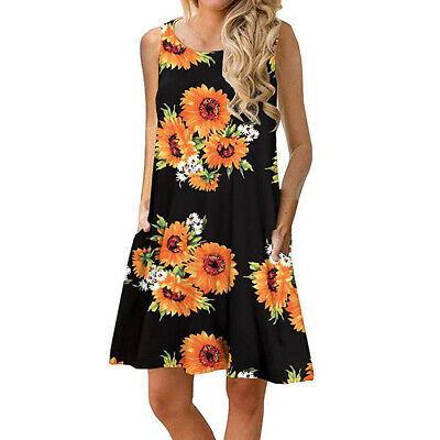 Casual Swing Beach Dress Sleeveless Sundress Women Floral Printed With Pocket