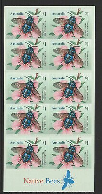 Australia 2019 : Native Bees. Booklet of 10 x $1.00 Self-adhesive Stamps.