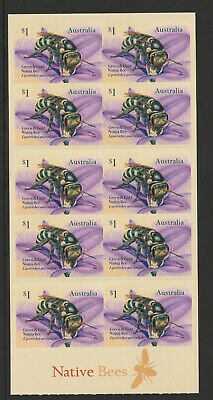 Australia 2019 : Native Bees. Booklet of 10 x $1.00 Self-adhesive Stamps,