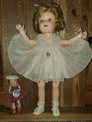 "20"" COMPO 1930s SHIRLEY TEMPLE in NRA DRESS + Japan 7 1/2"" ST+ Pins"