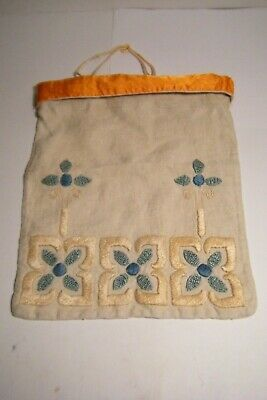 Ant. Arts & Crafts Ecru Linen Embroidered Drawstring Purse Bag