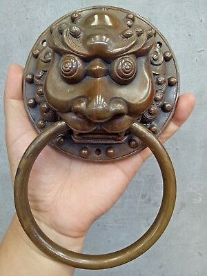 Chinese old Collectibles Bronze Foo Dog Lion square Door Knocker