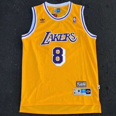 Kobe Bryant #8 Los Angeles Lakers Vintage Yellow Throwback Basketball Jersey Men