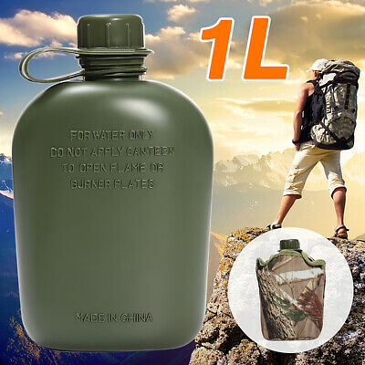 Army Style Military Patrol Drinks Water Bottle Canteen Camo Camping Hiking