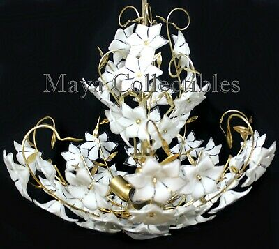 MURANO GLASS CHANDELIER Glass Flowers Italy Large Size