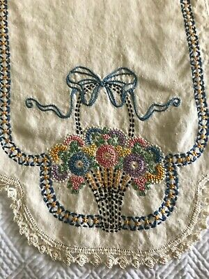 Vtg Cotton Linen Table Runner Flower Basket Embroidered French Knots Lace Bows