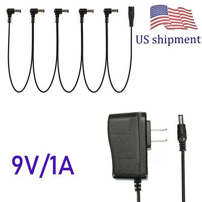9V Guitar Effects Pedal Power Supply Adapter & 5 Way Daisy Chain Lead Donner US
