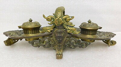 Antique Art Nouveau Victorian desk pen ink well inkwell cast iron brass