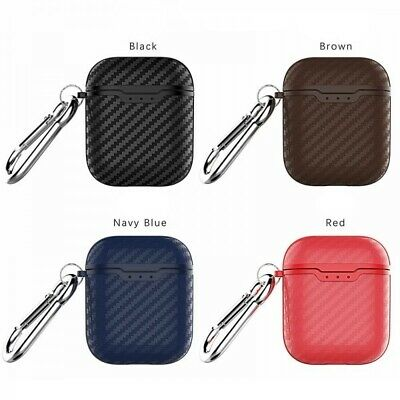 Carbon Fiber Texture ShockProof Silicone Protective Case Cover For Apple AirPods