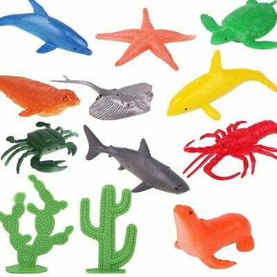 10X Ocean Animals Figure Sea Creatures Dolphin Turtle Whale Model Toys Creative