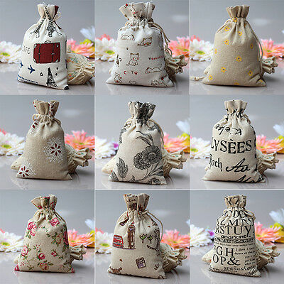 5/10X Small Burlap Jute Hessian Wedding Favor Gift Bag Drawstring Pouch SackB_T