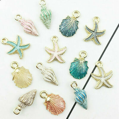13pcs DIY Sea Star Conch Shell Mixed Metal Pendant Jewelry Making Lot New
