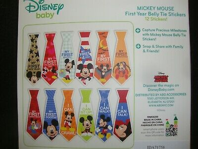 Disney Baby Mickey Mouse Tie Belly Stickers Special Occasion 1St Year Nib